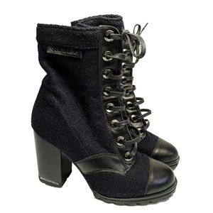 Chanel Blue Tweed Military Boots